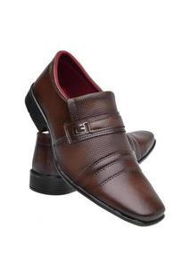 Sapato Social Masculino Cano Baixo Detalhe Metal Conforto