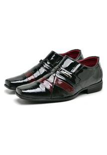 Sapato Social Masculino Mb Outlet Preto Com Vermelho