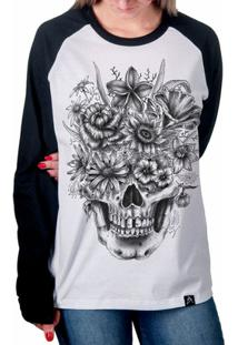 a05baec3b Camiseta Raglan Artseries Caveira Com Flores Feminina - Feminino-Branco