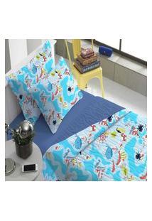 Kit Colcha Infantil Com Porta Travesseiro Mapa Portal Play