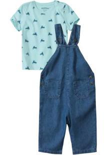 Conjunto Azul Claro Com Jardineira Jeans Menino