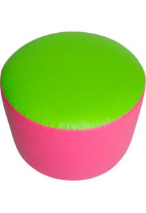 Puff Redondo Junior Courino Verde E Rosa