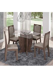 Conjunto De Mesa Luana Com 4 Cadeiras Livia Marrocos E Café