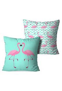 Kit 2 Capas Para Almofadas Decorativas Flamingos Love 35X35