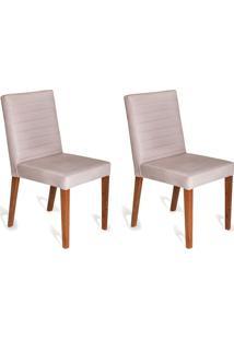 Conjunto Com 2 Cadeiras Dóris Veludo Cru