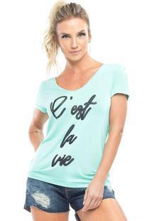 """Camiseta """"C'Est La Vie""""- Verde Claro & Pretavestem"""