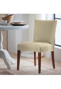 Conjunto Capas Para Cadeira Adomes Lisa 6 Peças Malha Suplex Palha