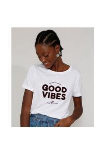 "Camiseta Feminina Longa Manga Curta ""Good Vibes"" Flocada Decote Redondo Branca"