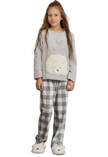 0a79935db7b705 Pijama Fleece Kids Lua Luá Snow Bear - Cinza
