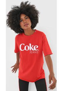 Camiseta Coca-Cola Jeans Lettering Vermelha - Vermelho - Feminino - Algodã£O - Dafiti