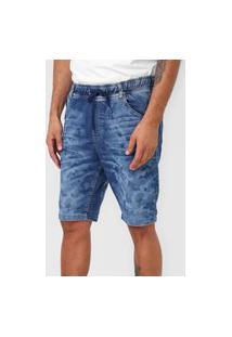 Bermuda Jeans Malwee Slim Amarração Azul