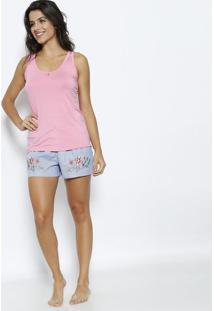 f484673247 Short Doll Com Bordado- Rosa   Azuldaniela Tombini