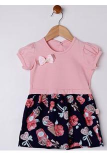 Vestido Infantil Para Bebê Menina - Rosa/Marinho