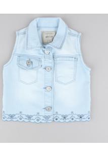 Colete Jeans Infantil Com Bordado Azul Claro
