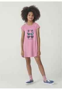 Vestido Infantil Menina Modelagem T-Shirt Hering Kids Rosa