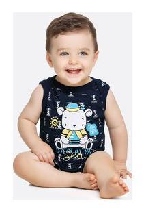 Body Infantil Bebê Estampa Urso Manga Curta