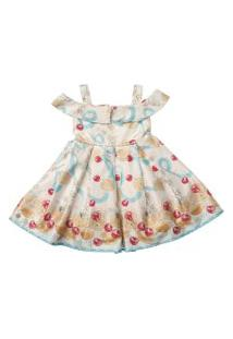 Vestido Infantil De Cetim Estampado Frutinhas - Anjos Baby Chic Azul