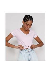 Camiseta Feminina Manga Curta Cropped Canelada Com Nó Decote V Lilás