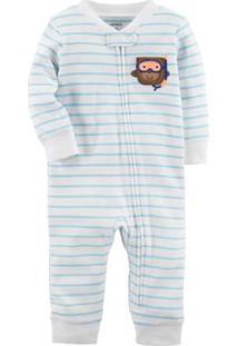 Pijama Bebê Carter'S Manga Longa Sem Pezinho Swimmer Monkey Masculino - Masculino-Branco