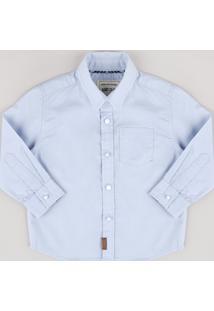 Camisa Infantil Com Bolso Manga Longa Azul Claro