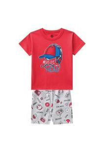 Pijama Infantil Menino Camiseta E Bermuda Meia Malha Estampa Brilha No Escuro-3