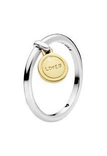 """Anel Medalha """"Loved""""- Prata & Dourado- Tamanho 52 = Pandora"""