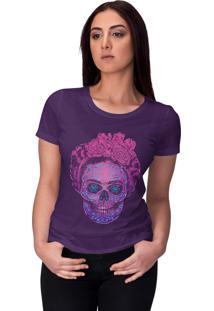 Camiseta Chico Rei Frida Calavera Roxa