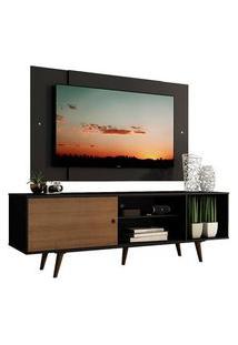Rack Madesa Dubai Com Pés E Painel Para Tv Até 58 Polegadas Preto/Rustic D8D8 Cor:Preto/Preto/Rustic
