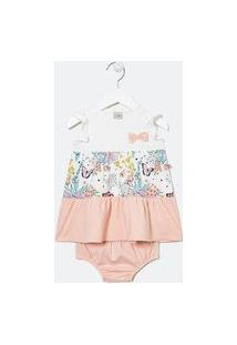 Vestido Infantil Recortes Marias Com Calcinha - Tam 0 A 18 Meses   Teddy Boom (0 A 18 Meses)   Multicores   3-6M