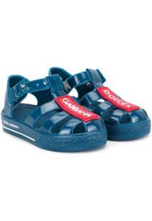 Dolce & Gabbana Kids Sapato Azul Com Estampa De Logo