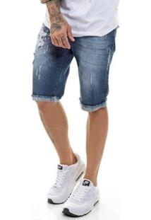 Bermuda Jeans Premium Destroyed Slim Fit Offert Masculina - Masculino-Azul