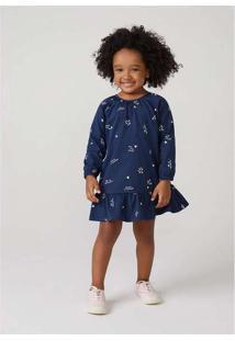 Vestido Infantil Menina Com Estampa Toddler Azul