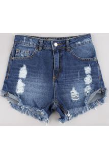 Short Jeans Juvenil Destroyed Com Barra Desfiada Azul Escuro