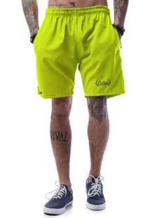 Bermuda Tactel Neon Cellos Retro Premium Masculina - Masculino-Verde Limão