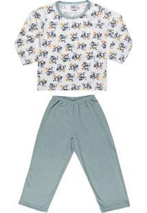 Pijama Infantil Para Menino - Verde/Branco