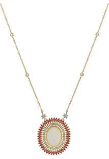 Colar Narcizza Semijoias Com Medalha Divino Espírito Santo Com Navetes E Zircônia Cristal Rubi Ouro