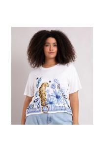 Camiseta Cropped De Moletinho Plus Size Estampada Natureza Manga Curta Decote Redondo Branca