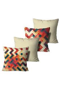Kit 4 Capas Para Almofadas Decorativas Love Decor Abstrato Multicolorido
