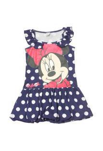 Vestido Regata Com Poás - Minnie - Azul Marinho E Branco - Disney
