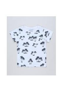 Camiseta Infantil Estampada De Coqueiros Com Bolso Manga Curta Off White