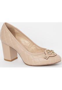 Sapato Em Couro Matelassê- Nude & Dourado- Salto: 8Ccapodarte