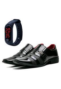 Sapato Social Elegant Com Relógio Led Fine Dubuy 813La Vinho
