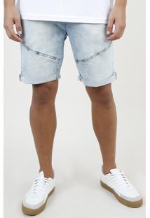 Bermuda Jeans Masculina Slim Com Recortes E Barra Dobrada Azul Claro