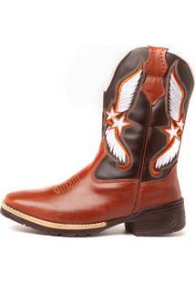 Bota Fran Boots Texana Country Cano Longo Marrom Cowboy 743
