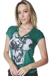 T-Shirt Celestine Estampada Flores Verde