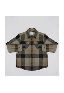 Camisa Infantil Estampada Xadrez Em Flanela Com Bolsos Verde Militar