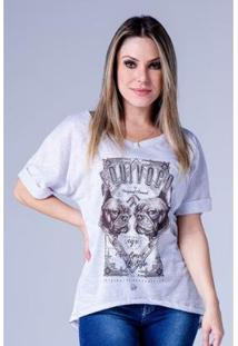 Camiseta Equivoco Oversized Mayara Feminina - Feminino-Cinza Claro