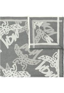 Mcm Cachecol Com Estampa De Logo - Cinza
