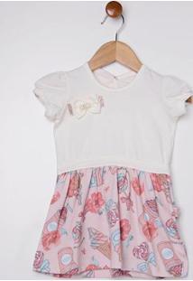 Vestido Infantil Para Bebê Menina - Off White/Salmao