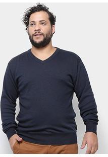 Blusa Tricô Delkor Plus Size Masculina - Masculino-Marinho